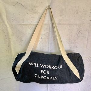 NWOT Denim Duffle Gym Bag